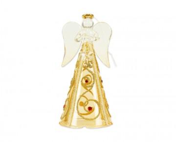 Skleněný anděl tmavě zlatý, střední