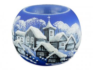 Skleněná koule na svíčku, modrá