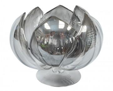 Skleněný leknín na svíčku, kovová šedá
