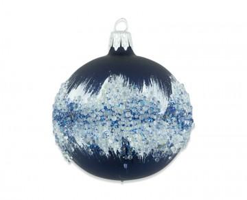 Vánoční koule modrá, perličky