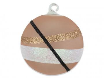 Vánoční koule béžová, pruhy