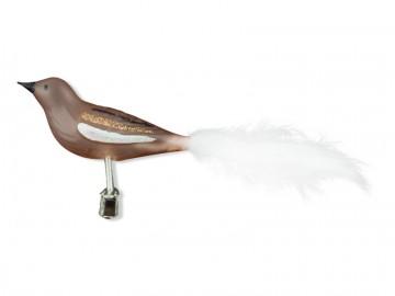 Skleněný ptáček, béžový