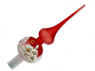 Vánoční špice červená, chaloupky