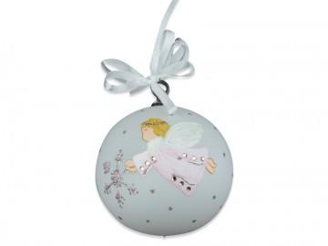 Vánoční koule perleťová, koule s andělem