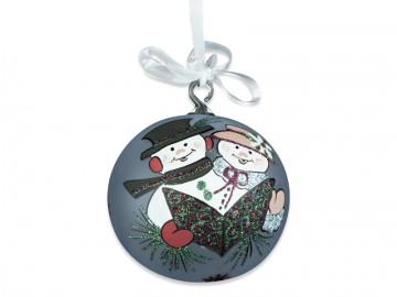 Vánoční koule perleťová, sněhuláci