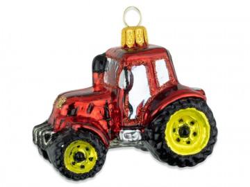 Skleněné auto traktor, červený