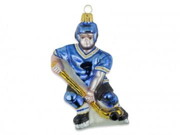Skleněná figurka hokejista, modrá