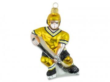 Skleněná figurka hokejista