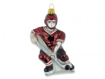 Skleněná figurka hokejista, vínová