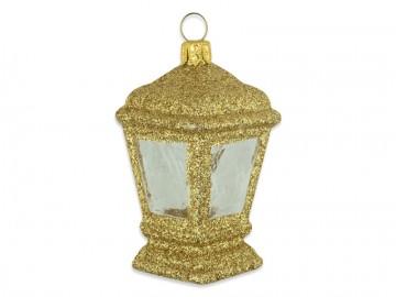 Vánoční ozdoba lucerna, tmavě zlatá