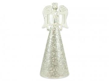 Skleněný anděl stříbrný, svícen