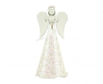 Skleněný anděl bílý