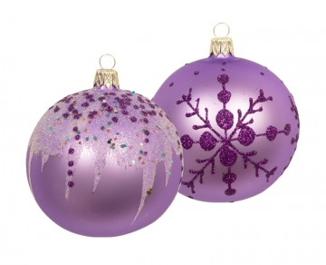 Vánoční koule fialová sv, rampouchy vločky