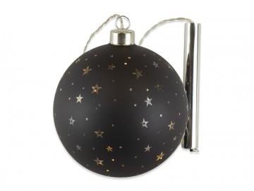 Skleněná LED koule, černá