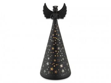 Skleněný anděl černý, LED