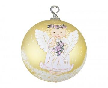 Skleněná koule anděl, zlatá
