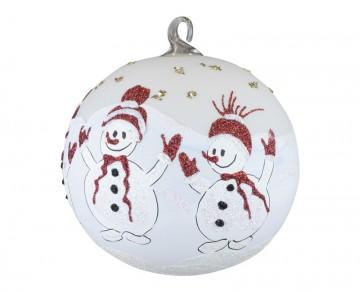 Skleněná koule sněhuláci, bílá