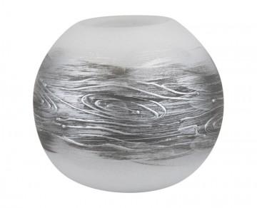 Skleněná koule na svíčku, drevo, šedá