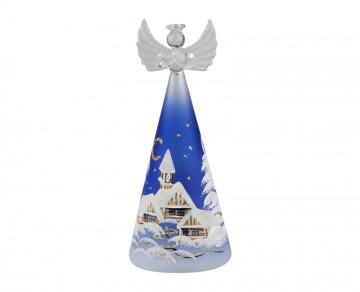 Skleněný LED anděl malovaný, modrý