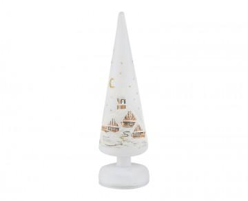Skleněný LED stromek malovaný, bílý