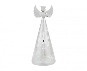 Skleněný LED anděl námraza, bílý