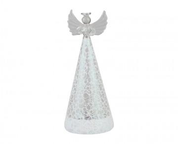Skleněný LED anděl drátkovaný, bílý