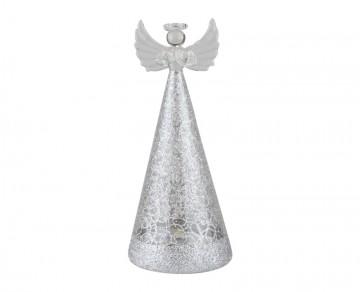 Skleněný LED anděl drátkovaný, stříbrný
