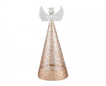 Skleněný LED anděl drátkovaný, bronzový