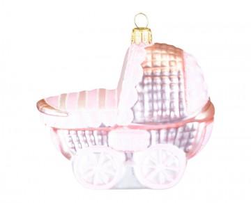 Vánoční ozdoba kočárek, růžový