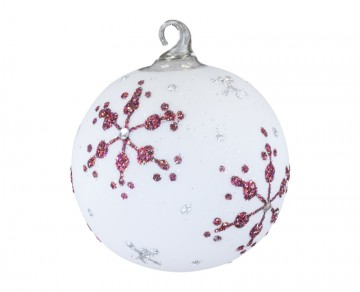 Vánoční koule, vločka, červenobílá