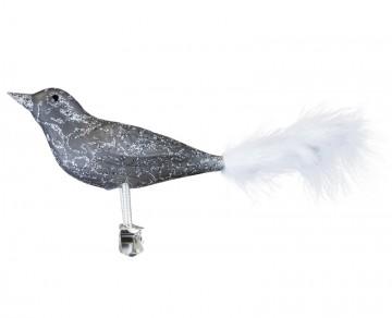 Skleněný ptáček, drátek, šedočerná