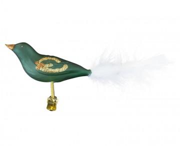 Skleněný ptáček, jmelí, zelená