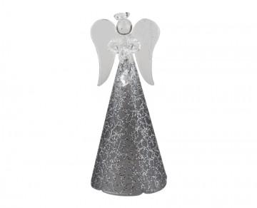 Skleněný anděl tmavě šedý