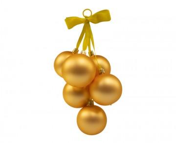 Vánoční koule zlatá tmavá, závěs hrozen