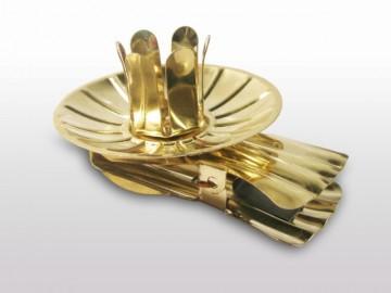 Svícínek na vánoční stromečky zlatý SP2